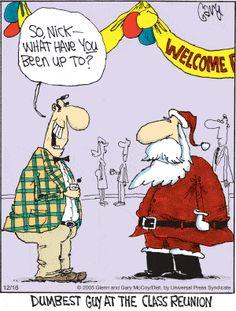 Santa's High School Reunion. The Flying McCoys by Glenn and Gary McCoy ~ Christmas Humor ~ Santa's school reunion