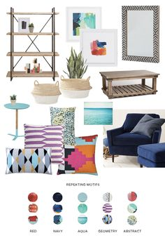 My tips on how to create cohesion in a room by repeating colors and patterns.