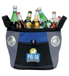Tailgating has literally never been easier. Motivators' amazing festival music cooler fits a whopping 24 cans, features built-in speakers and even includes a metal bottle opener! (Maybe we should rename it the portable party? Cooler With Speakers, Built In Speakers, Picnic Bag, Family Picnic, Employee Gifts, Insulated Lunch Bags, Clothing Logo, Clear Bags, Practical Gifts