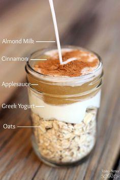 Cinnamon Apple Overnight Oats. Make this the perfect vegan breakfast, by using #soydelicioue coconut Greek style yogurt.