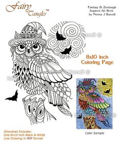 Halloween Trick or Treat Owl with Full Moon and Bats Fairy-Tangles Digital Adult Coloring Book Page Colouring Sheet for Adults Owls