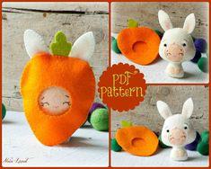 PDF. Bunny baby with carrot costume. Plush Doll Pattern, Softie Pattern, Soft felt Toy Pattern.. $4.00, via Etsy.
