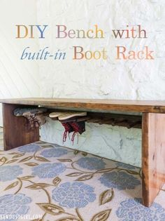 Bench with built-in Boot Rack - Sawdust Girl® #shoestorage #bootrack #shoeorganization Woodworking Projects Diy, Woodworking Plans, Diy Projects, House Projects, Built In Bench, Bench With Storage, Boot Storage, Home Addition Plans, Sawdust Girl