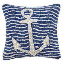 Multi Wave Nautical Anchor Hook Wool Throw Pillow