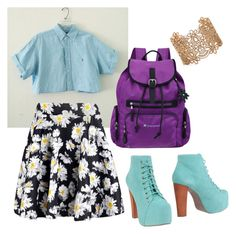 """""""School outfit #2"""" by sharkgirl221 on Polyvore featuring Boohoo, Jeffrey Campbell, Sherpani and Forever 21"""