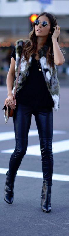 Just a pretty style | Latest fashion trends: Women's fashion | Sleeveless fur vest, leather pants and ankle boots