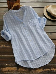 Striped Button Up Pocket Blouse - LIGHT BLUE ONE SIZE