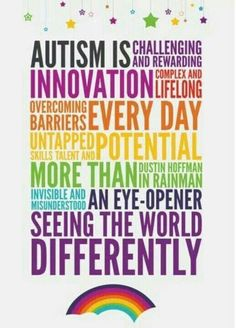 Autism awareness and acceptance mean different things to different people.       April is traditionally the month of Autism acceptance world...