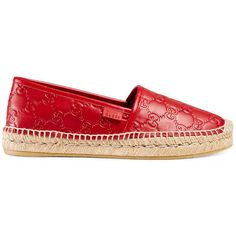 Gucci Signature Leather Espadrille ($450) ❤ liked on Polyvore featuring shoes, sandals, gucci footwear, gucci sandals, gucci shoes and gucci