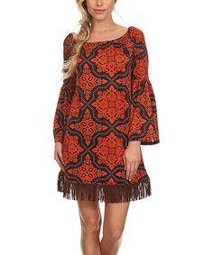 Look what I found on #zulily! Orange Fringe Bell-Sleeve Dress - Plus Too #zulilyfinds