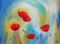 Defi Mai : Les fleurs de Coquelicot rouge dans le vent d'été : Peintures par peintures-axelle-bosler