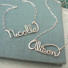 """Custom Script Name Necklace in sterling silver. $55.00, via Etsy.    Would love to get this to say """"Aria"""" on it for my girl!"""