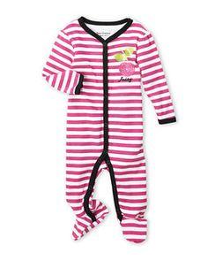 JUICY COUTURE (Newborn/Infant Girls) Pink Stripe Cherry Footie