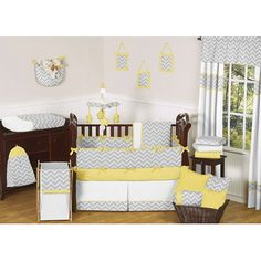 Yellow and Gray Zig Zag 9 Piece Crib Bedding