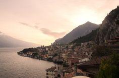 Limone at Lake Garda, Italy at sunset.