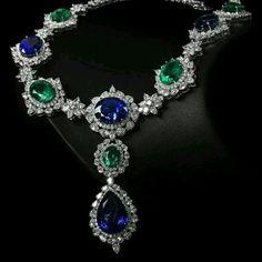 @thejewellcloset . Stunning Sapphire , Diamond & Emerald necklace #diamondpendant