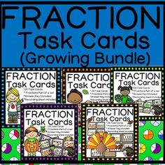 Fraction Task Cards-(Fractions-Parts of a Set-GROWING BUNDLE)* New Thanksgiving Set added on Sept. 28*New Halloween Set added on Sept. 16This is a GROWING BUNDLE of Fraction task cards! There are currently 5 sets of task cards and each set has  24 task cards representing parts of a set!
