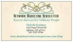 Making Your Business Card Work For You   Network Marketing Success   Melodie Kantner