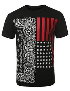 / tee shirt with bandana and flag design / Mens Tee Shirts, Casual T Shirts, Cool T Shirts, Tee Design, Flag Design, Independent Clothing, Custom Made T Shirts, Cool Graphic Tees, Quality T Shirts