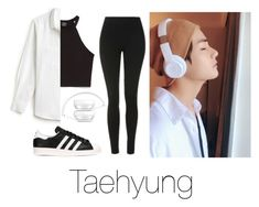 """Listening to music with Taehyung"" by infires-jhope on Polyvore featuring Topshop, Zara, Lacoste and adidas Originals"