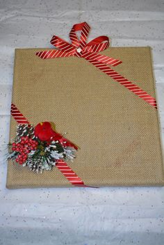 Christmas Burlap Canvas by KimsKraftyDesigns on Etsy, $30.00