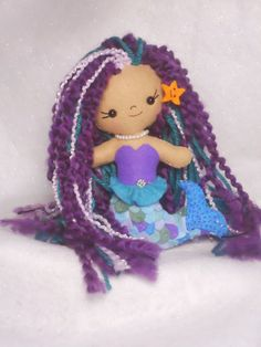 OOAK Happy Lil Felt Mermaid Doll Ready to Ship. $30.00, via Etsy.