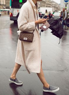cozy coat + sneakers