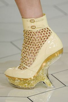 Alexander McQueen - Cream-Colored Bootie with Fishnet Detail