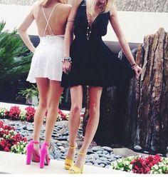 White , Black , Hot Pink , Yellow yellow heels
