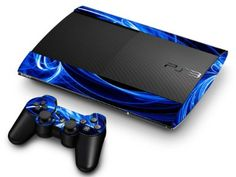 PS3 Super Slim Skin - Blue Energy: Amazon.co.uk: PC & Video Games