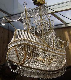 Crystal ship chandelier from zgallerie i dont think you can even awesome crystal pirate ship chandelier reminds me of the flying pirate ship at the end of peter pan mozeypictures Choice Image