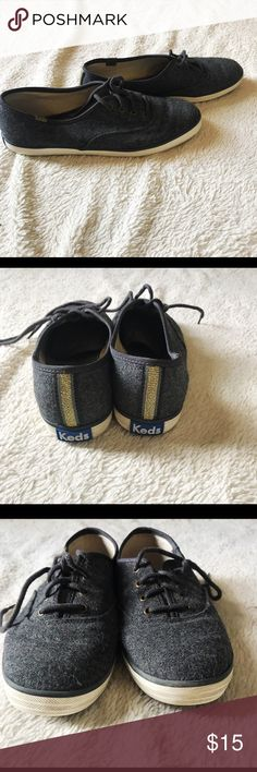Keds Dark grey wool keds with gold stripe on back. Size 8.5. Slightly used. Keds Shoes Sneakers