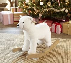 #potterybarnkids  I think the little guys special animal is a bear : ) Love it!  Bring Arctic adventure to the nursery with this soft polar bear rocker.