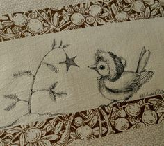 "bird quilt label...like the ""sketched"" look"