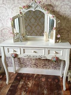 Shabby Chic White Wash Dressing Table and Triple Mirror Rustic Country Style 801 Shabby Chic Dressing Table, White Dressing Tables, Bedroom Dressing Table, Dressing Table Mirror, Pine Bedroom, Standing Mirror, Furniture Decor, Bedroom Furniture, Autumn Home