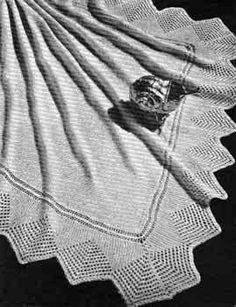 Baby Knitting Patterns Shawl Free Knitting Pattern: Shell Baby Shawl from Patons Knitting Book No 450 Knitting Books, Knitting For Kids, Baby Knitting Patterns, Lace Knitting, Baby Patterns, Knitting Projects, Crocheting Patterns, Knitted Baby Blankets, Knitted Shawls