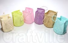6 x JUTE POUCHES ASSORTED Sweet Pastel Colours Wedding Favours Gift Bags 7x6cm