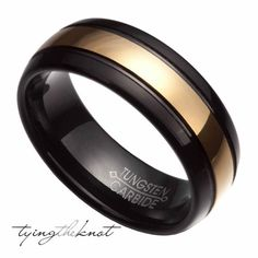 Mens Black w/ Gold Plate Center Tungsten by TyingTheKnot925