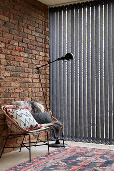 Black vertical blinds are a great choice for creating an edgy, industrial feel Blinds For Windows, Curtains With Blinds, Home Interior Design, Interior Decorating, Vertical, Breath Of Fresh Air, Roman Blinds, Unique Vintage, Mid-century Modern