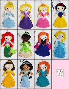 ARTE COM QUIANE - Paps,Moldes,E.V.A,Feltro,Costuras,Fofuchas 3D: Momento inspiração do dia!! Princesas bordadas de feltro