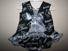 Baby Girl Football Raiders Sun Dress W/Ruffle Butt Panties Sz 6-9 Mo