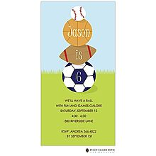 Sports Themed Party Invitation Featuring A Baseball Basketball Football And Soccer Ball Use This Fun For Your All Star Shower Or
