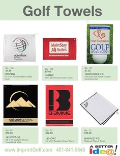 bd78370f03 Custom Golf Outing Towels on Sale! Personalized Golf Products at bargain  prices. Golf Tournament Giveaway Prizes   Logo branded Gifts.  www.imprintgolf.com ...
