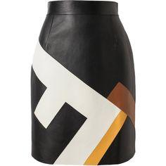 FENDI Logo Patterned Leather Skirt found on Polyvore