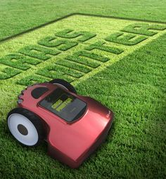 A lawn mower printer that can be programmed to write messages on your lawn. #lawnmower #printer #YankoDesign WHAT !!!