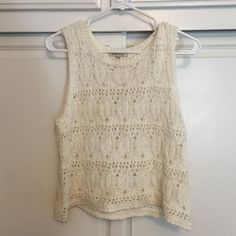 White Tank Crocheted Crop Top Never worn, light weight, great for a hot summer day Tops Crop Tops