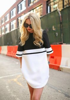 Classic - two color dress white black sunglasses street @roressclothes fashion style women blonde girl summer outfit