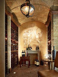 Private Woodside Residence mediterranean wine cellar