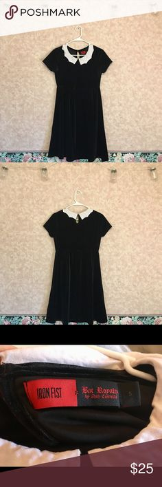 Iron Fist x Ash Costello Bat Royalty Collar Dress Wednesday Addams style dress with bat wing collar. Velvety material, 100% polyester. Empire waist. The chest is a bit tight for me, so if you're above a 32C this might not fit you. I've worn it like 2 times and it's left black lint on my underarms, but that could just be because it's so new. It has 4 stars on the Hot Topic website, it's no longer sold there though. Comes down to my knees. I'm happy to provide measurements if you need them…