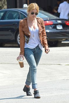 9 Celebrity Takes on the Classic Moto Jacket featuring Ashley Benson
